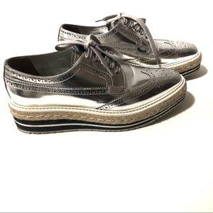 PRADA Platform Derby Oxford Metallic shoes| Sz 8